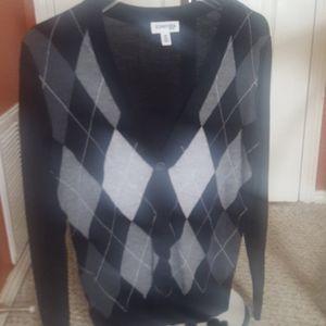 V neck button down argyle sweater